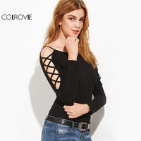 COLROVI Ribbed Knit T Shirts Black Crossover Vintage Tee Open Shoulder Women Summer Tops 2017 Sexy