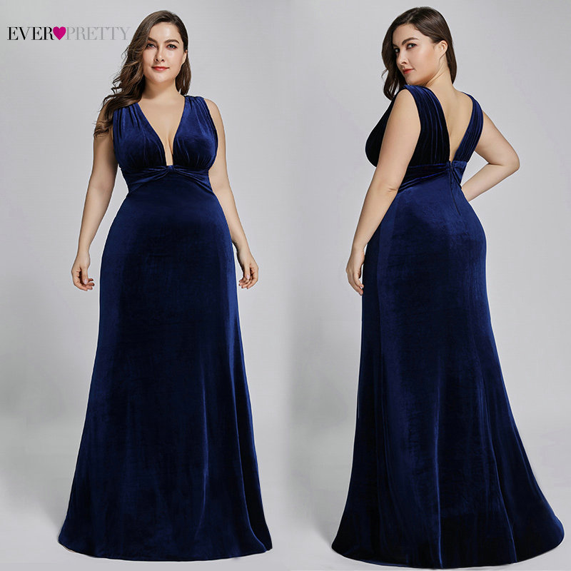 Plus Size Sexy   Prom     Dress   2019 Ever Pretty EP07181 Spring Deep V Neck Elegant Velvet Long Burgundy Evening Gowns Robe De Soiree