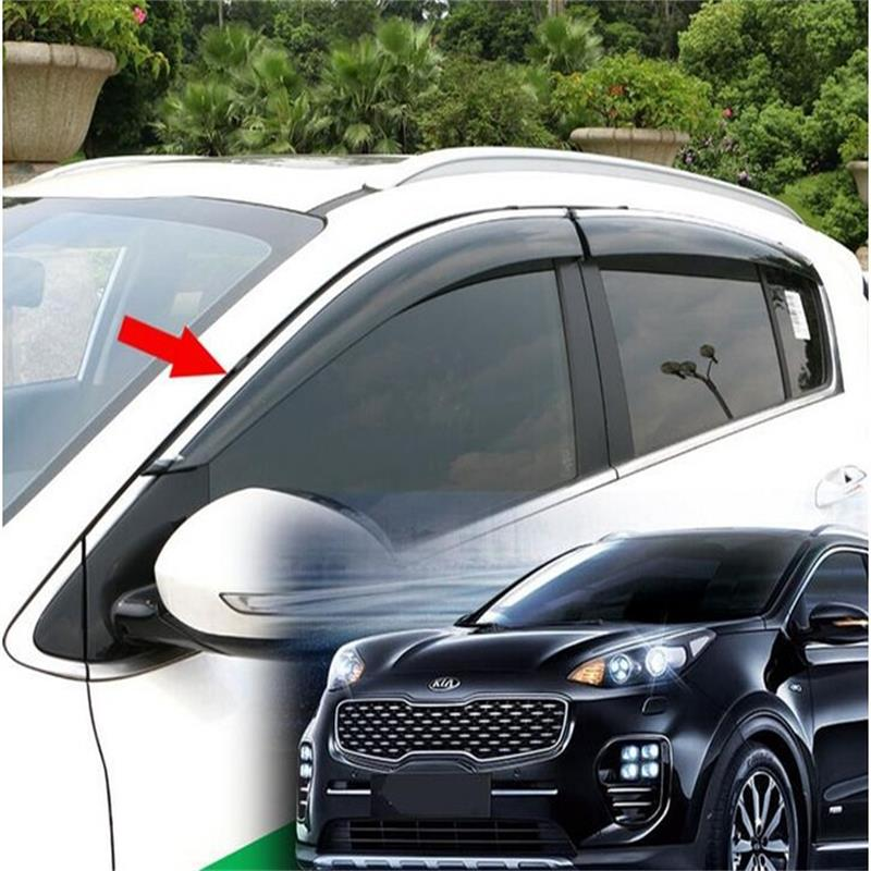 For 16 Kia Sportage KX-5 KX5 2016 2017 Window Visor Vent Shades Sun Rain Deflector Guard Awnings Car Styling Accessories 2015 2017 car wind deflector awnings shelters for hilux vigo revo black window deflector guard rain shield fit for hilux revo