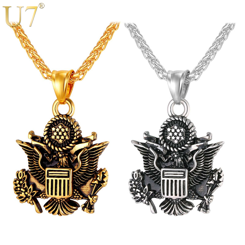 d8d0061bf54 U7 Statement Necklace Great Seal of the United States Gold Color Stainless  Steel Chain   Pendant American Jewelry Men Women P164-in Pendant Necklaces  from ...
