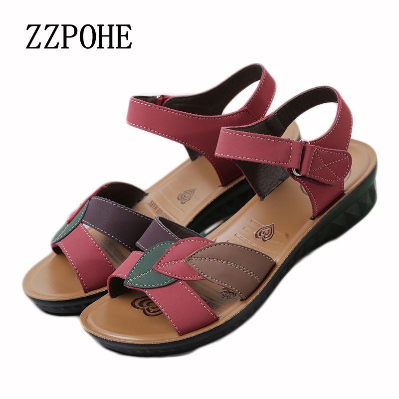 Zzpohe 2017 Summer New Women Flat Sandals Fashion Elderly