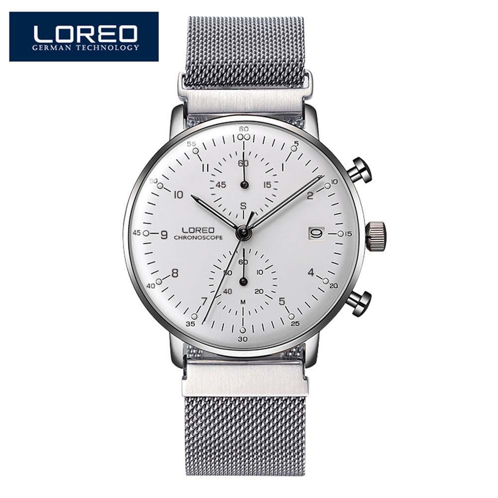 LOREO Fashion Silver Men Watches 2018 High Quality Ultra Thin Quartz Watch Man Unique White Dial Quartz-Watch Relogio Masculino