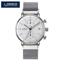 LOREO Fashion Silver Men Watches 2018 High Quality Ultra thin Quartz Watch Man Unique White Dial Quartz Watch Relogio Masculino