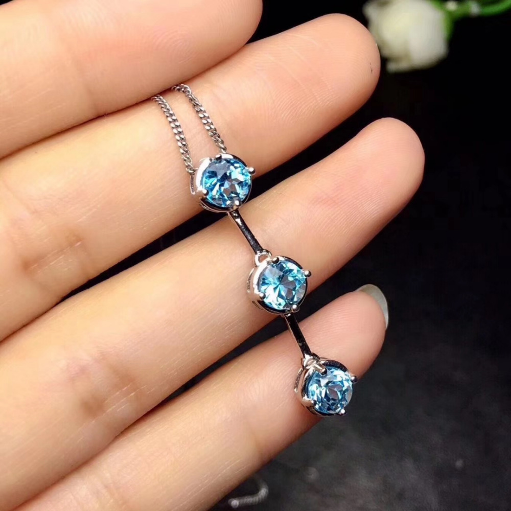 Natural blue topaz gem Elegant Lucky beans Pendant necklace S925 silver Natural gemstone necklace women girl