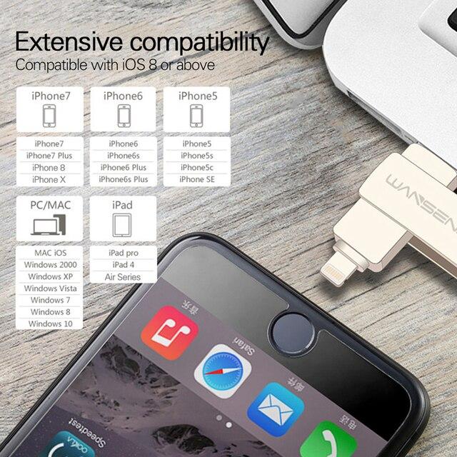 WANSENDA USB-Stick 3 in 1 iOS & USB3.0 & Micro USB OTG Pendrive 128GB 64GB 32GB 16GB 8GB Rotation Design-Flash-Sticks