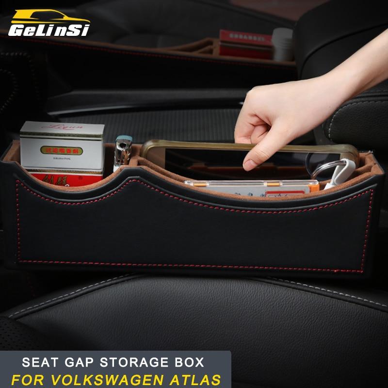 GELINSI Seat gap storage box solid wood storage box Interior Accessories For Volkswagen Atlas 2017 2018 Auto Car