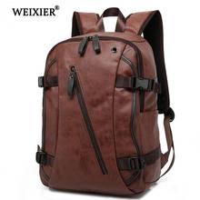 WEIXIER Hot 2019 New PU Mens Leisure Travel Backpack Student School High Quality Classic Design Laptop Solid Color Bag