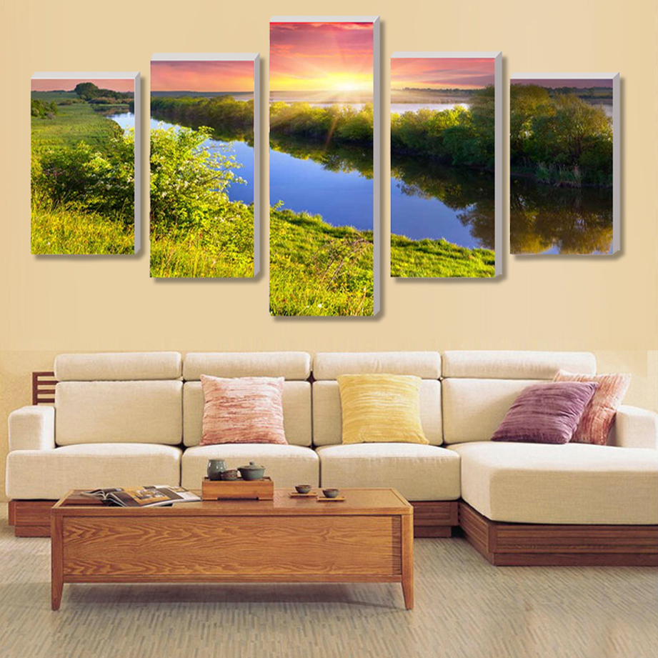 (No Border) 5 Set Beautiful Garden Home Decor Wall