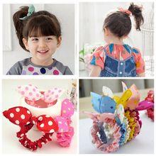 Hot Sale Mini Small Bunny Rabbit Ears Headband Hair Rope Rubber Bands Kids Girls Cute hair Accessories