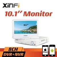 10.1 ЖК дисплей Мониторы CCTV 4CH/8ch HVR 1080 P Регистраторы DVR HDMI Выход 4ch/AHD/CVI/ TVI 8ch IP Камера NVR Поддержка удаленного просмотра ONVIF