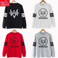 [STOCK] Hot Cheap Game Watch Dog 2 Cosplay Hoodies Mens Fashion Winter Autumn Black White Gray Color Red Pullover Free Shipping