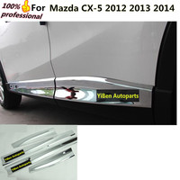 car styling cover detector ABS chrome Side Door Body trim stick Strip lamp Molding panel 4pcs for Mazda CX-5 CX5 2012 2013 2014