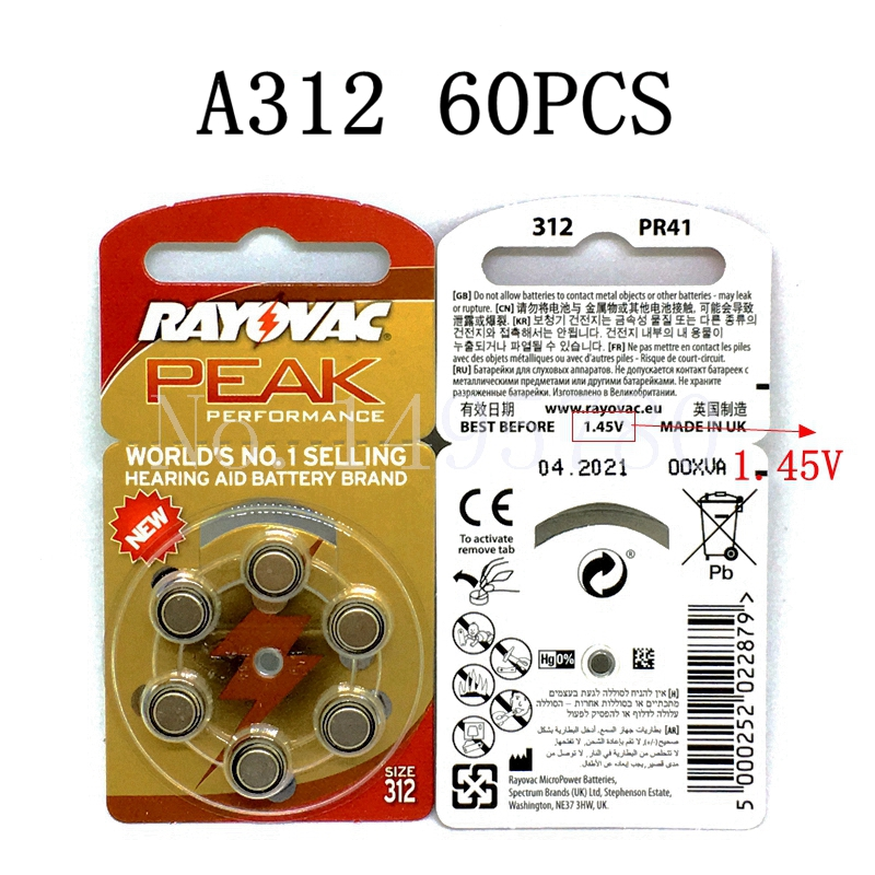 60 PCS NEW Zinc Air 1.45V Rayovac Peak Hearing Aid Batteries A312 312A ZA312 312 PR41 S312, 60 PCS Hearing Aid Battery tmmo 1 5v aaa carbon zinc batteries 40 pcs