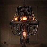 IWHD Лофт Стиль Промышленных Ретро подвесной светильник гладить цепь с подвеской светильник Винтаж светильники Спальня Ресторан Lampen