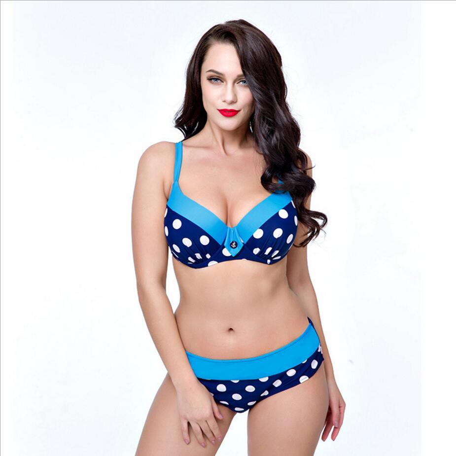 4 color Dot más tamaño traje de baño mujeres bikini 2017 bikinis push up traje de baño de Gran taza de trajes de baño maillot de bain femme 189