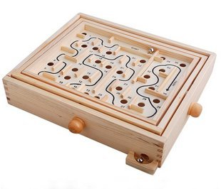 Candice guo! Hot sale funny educational toy wooden toy maze labyrinth puzzle balance game 1pc free shipping