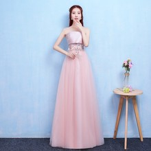 Pink Colour New Bridesmaid Dress Wedding Long Party Dinner