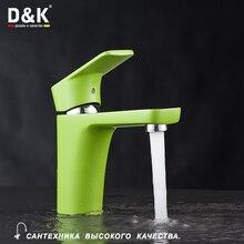 D&K DA1432112 Высокое Качество Умывальник Кран, Однорычажный смеситель для раковины, Керамический картридж 38.5 мм, гибкая подводка, зеленая+хромированная поверхность, гибкая подводка 1/2″ длиной 40cм, Зеленая