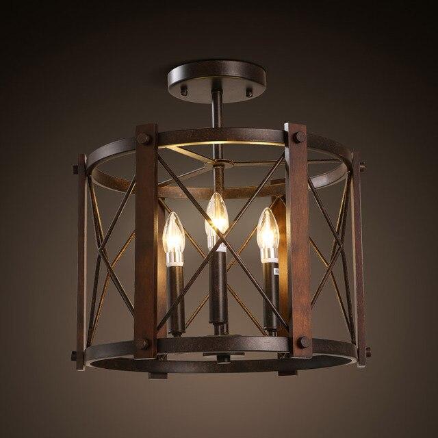 American Retro Industrial Hanglamp Loft Circular Iron Ceiling Lamp Bedroom Corridor Aisle Balcony LED Home Deco Light Fixtures