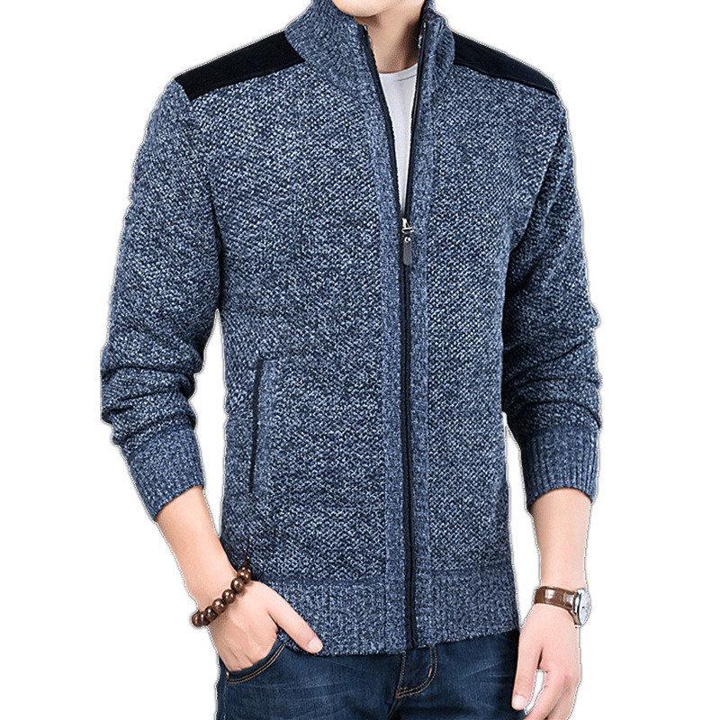 Winter Mens Sweater Long Sleeve Autumn Casual Turtleneck Thick Patch Cardigan Sweater Coat Knitting Sweaters Coats