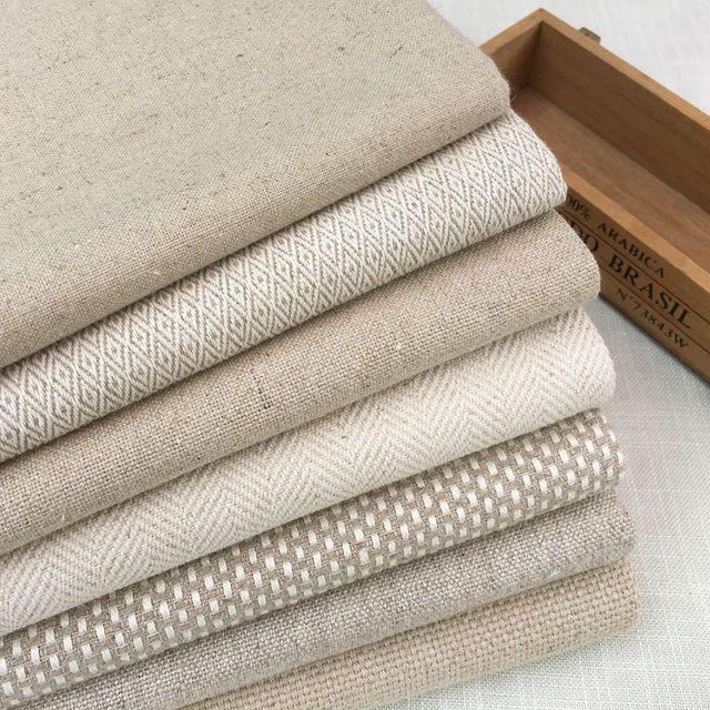 Contemporain Lourd Lin Coton Tissu Naturel Tissé D'Ameublement