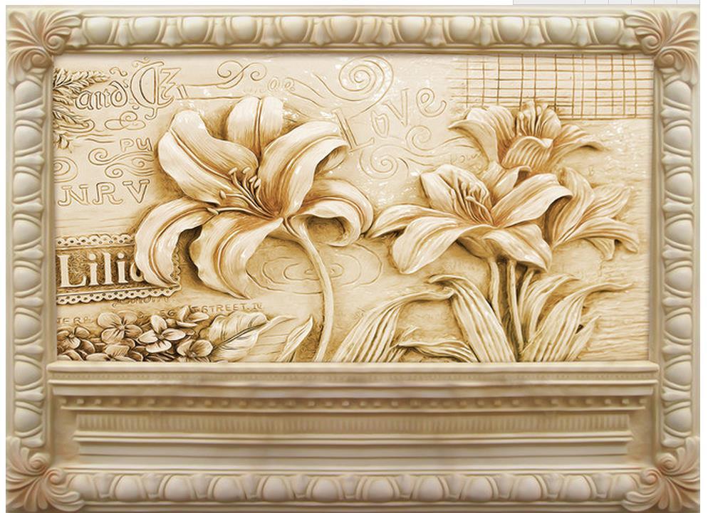 European style flower jade carving sandstone relief mural