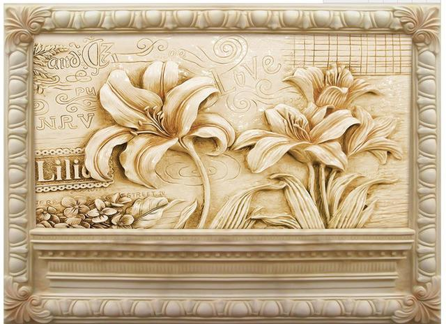 European style flower jade carving sandstone relief mural wall ...