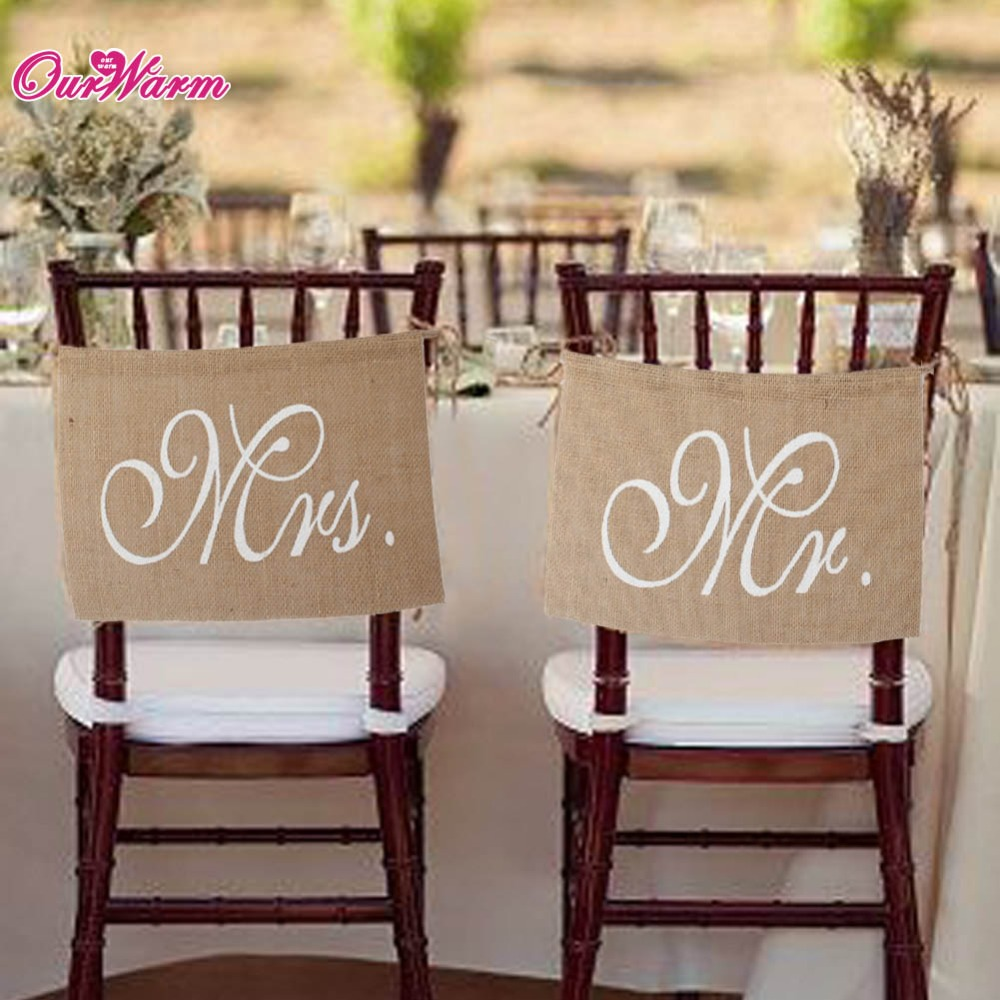 OurWarm Rustic Wedding Mr Mrs Stol Banners Sign Burlap Chair Sign Brudgum Bride Party Vintage Wedding Engagement Party Decoration