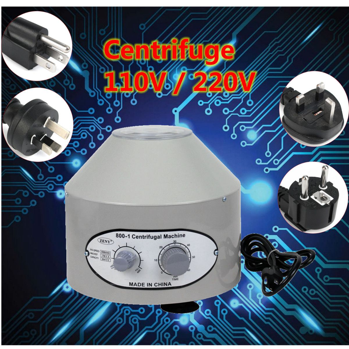 Desktop 800-1 110V/220V 4000Rpm Electric Centrifuge Laboratory Medical Practice Lab Centrifuge Electrical Equipment 220v 800d electric centrifuge 4000r min 25w laboratory lab medical practice desktop laboratory centrifuge machine