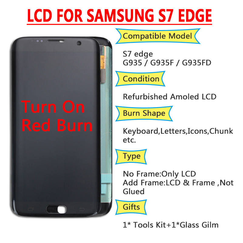 ORIGINAL 5.5'' SUPER AMOLED Red Burn LCD With Frame For SAMSUNG Galaxy S7 Edge G935 G935F Touch Screen Digitizer Display