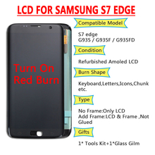 ORIGINAL 5.5 SUPER AMOLED Red Burn LCD with frame for SAMSUNG Galaxy s7 edge G935 G935F Touch Screen Digitizer Display
