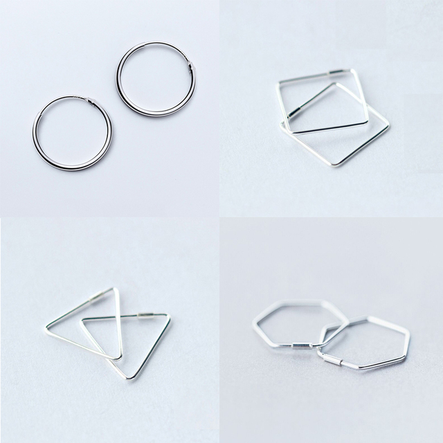 New 100% 925 Sterling Silver Simple Vintage Cirlce Hoop Earrings For Women Hypoallergenic Statement Jewelry Fashion Gift