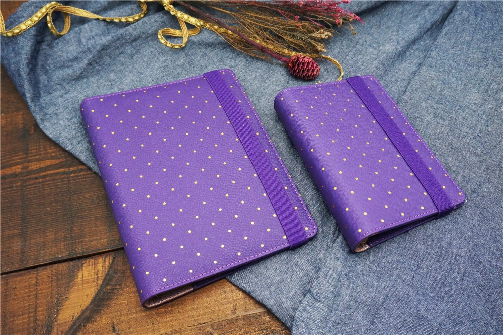 Polka Dot Purple Travel Journal Spiral Loose Leaf planner Agenda Notepad Bandage A5 Lovely Kawaii Girl Notebook Harphia a5 a6 vintage loose leaf refillable wool felt spiral weekly planner notebook filofax memo travel journal diary notepad