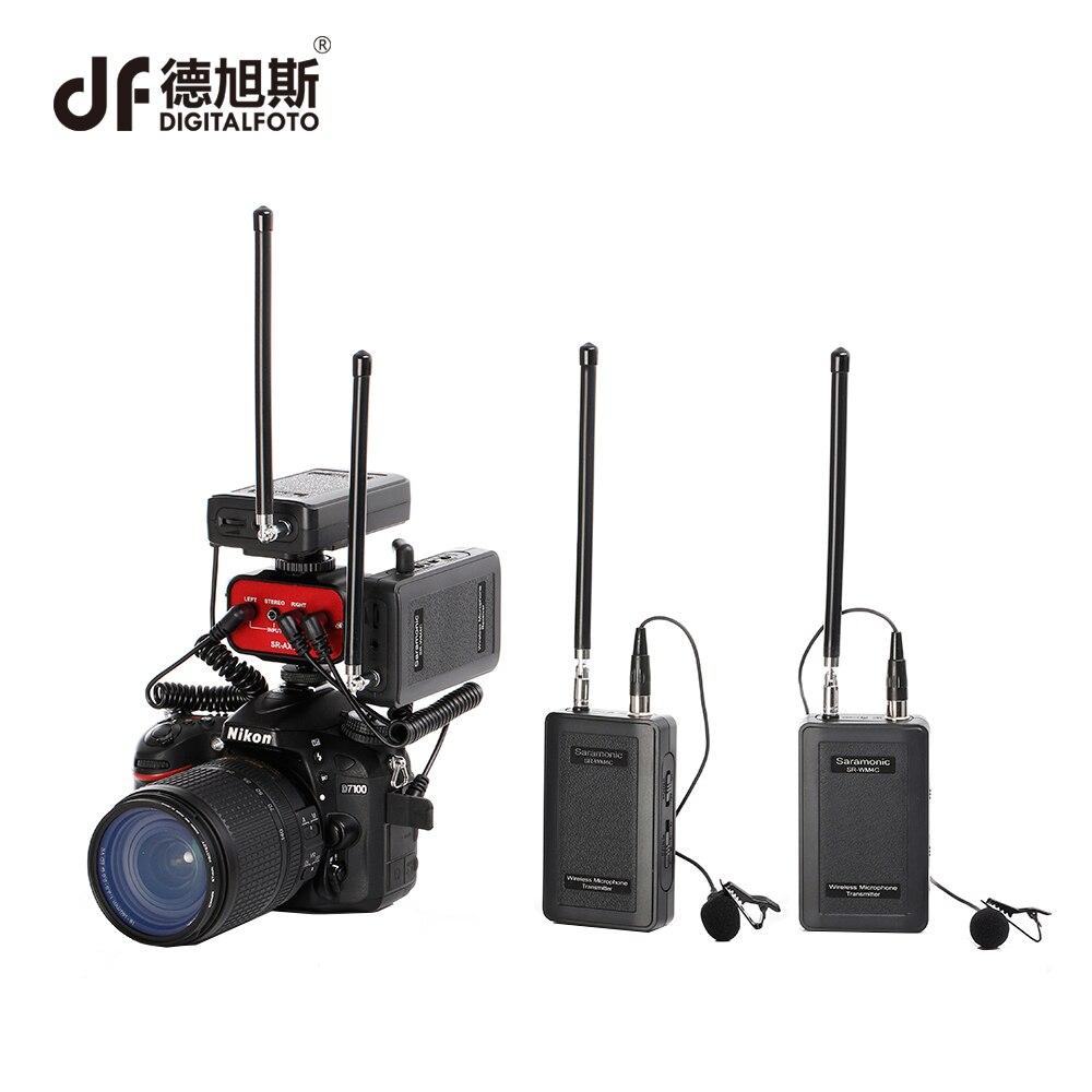 DIGITALFOTO Saramonic Sans Fil VHF Cravate 2 Canal 2 Émetteurs 2 Récepteurs professionnel caméra Microphone pour Appareil Photo REFLEX NUMÉRIQUE