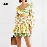 VGH Summer A Line Dress Women Print Asymmetrical Collar Off Shoulder Lantern Sleeve Hollow Out 2019 Dresses Female Fashion New