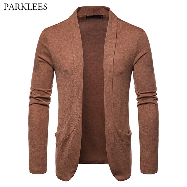 32b5af480 Creative Shawl Collar Pockets Cardigan Sweater Men Lightweight Solid ...