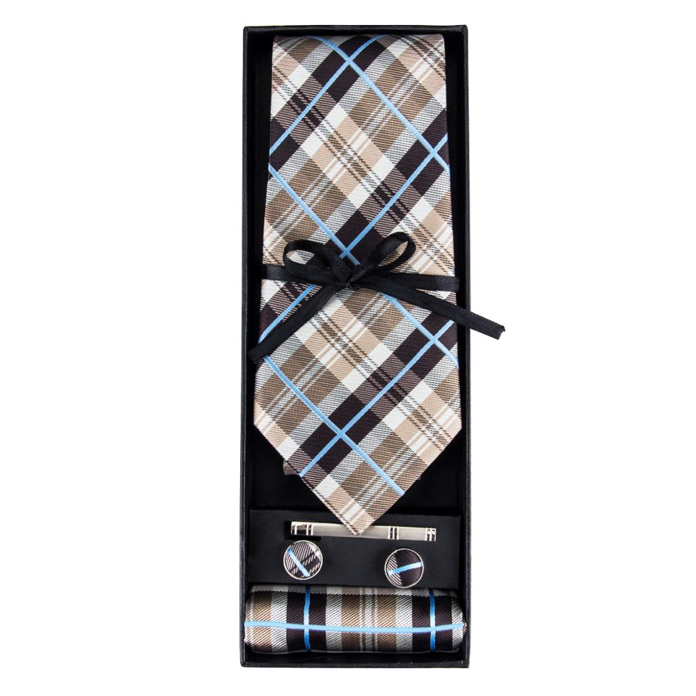 GB-382 Barry.Wang New Men`s Tie Jacquard Woven Silk Necktie Hanky Cufflinks Set For Mens Business Wedding Party With Gift Box