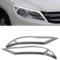 Quality ABS Chrome Front Headlight Cover Trim For Volkswagen VW Tiguan 2009 2010 2011 2012