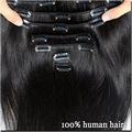 Grade 7A 100% Remy Natural Clip In Human Hair Extensions Brazilian Virgin Hair Clip In Extension Straight 9 Pieces/set 120g