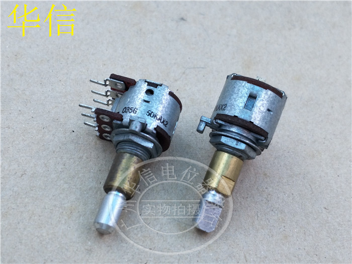Original new 100% Japan import 50KAx2 RK161222007F 16 type double tone duplex potentiometer A50K axis 25MMF (SWITCH) original new 100% fader double potentiometer combined assets of black 75mm a20k b20k a50k b50k a100k b100k sc6082gh switch