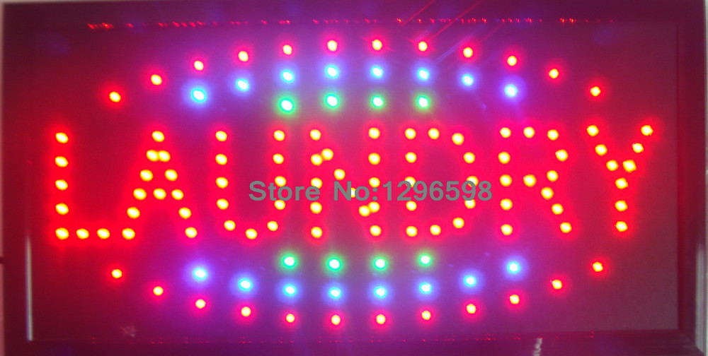2017 New arriving led laundry open sign custom sign graphics Ultra Bright flashing 10*19 Inch indoor laundry store led sign
