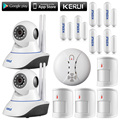 KERUI 720P WiFi IP Camera Home Office Burglar Alarm System Anti-pet Motion Detector door gap Sensors Kit +wireless fire detector