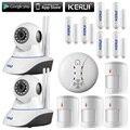 Kerui 720 p wifi câmera ip home office sistema de alarme anti-pet motion detector fresta da porta kit de sensores + detector de incêndio sem fio