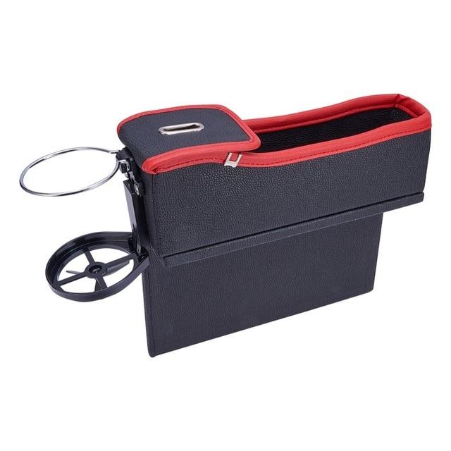 Car Storage Box Organizer Seat Gap PU Leather Case Pocket Car Seat Side Slit For Phone Coins Cigarette Keys Cards Cups Holders