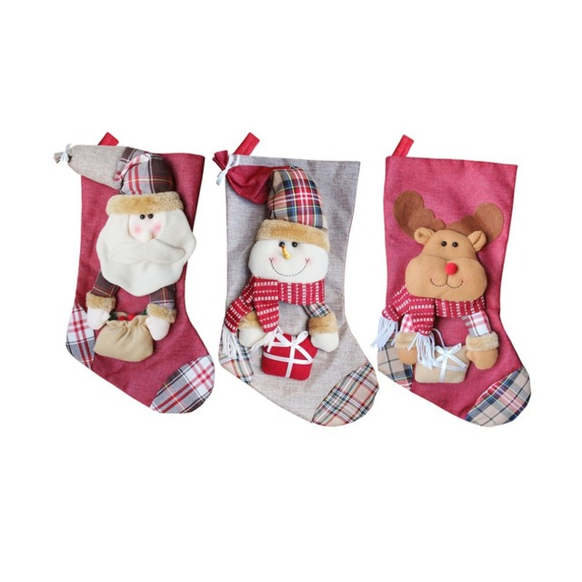 f17dea0fbff cute christmas stockings socks santa claus snowman elk candy gift bag xmas  tree decor