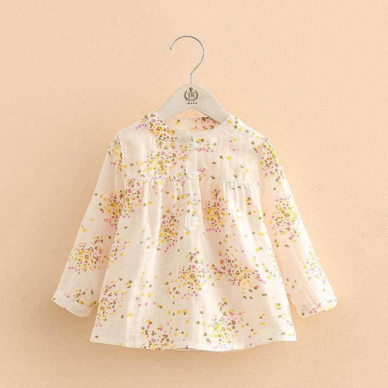 Girls Tops 2018 Spring Autumn Casual 2-12 Years Cotton Mandarin Collar Long Sleeve Full Flower Print Kids Girl Blouses Shirts