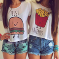 ZSIIBO Best Friends Hamburg Chips Fashion Casual Crop Top Women Short Sleeve Funny Print T-shirt Girlfriends Clothing Nvtx16-K1