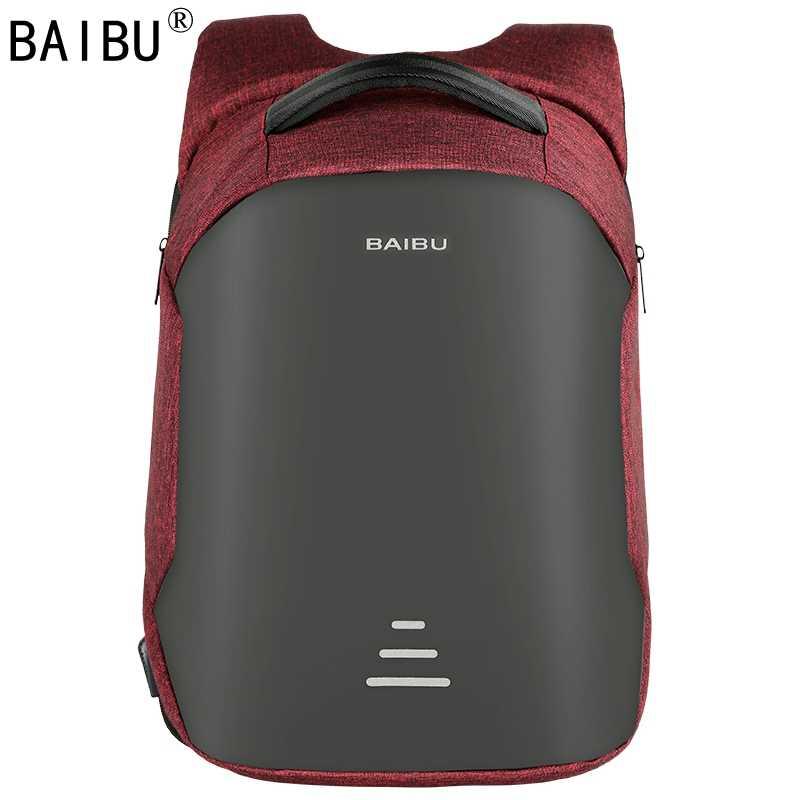 Мужской многофункциональный рюкзак от BAIBU, рюкзак с функцией антивор для ноутбука 15,6 дюймов, женский большой водонепроницаемый рюкзак в деловом стиле с USB-зарядкой для путешествий