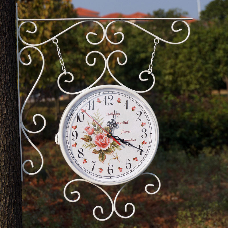 Rural Style iron  clock double sided  rotated antique metal clock  Unique gift Home Decoration Rural Style iron  clock double sided  rotated antique metal clock  Unique gift Home Decoration