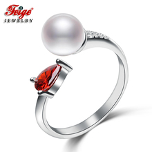 New Design Pearl Rings For Womens, 7-8mm White Natural Freshwater Pearls,100% 925 Sterling Silver Rings, Fine jewelry